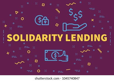 Conceptual business illustration with the words solidarity lending