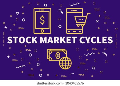 Conceptual business illustration with the words stock market cycles