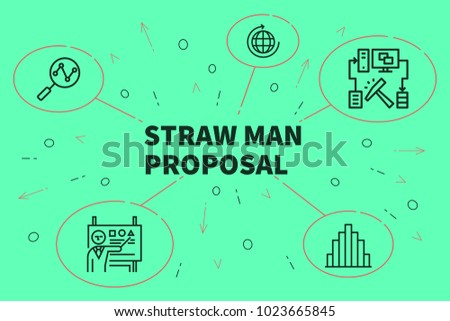 Conceptual Business Illustration Words Straw Man Stock Illustration