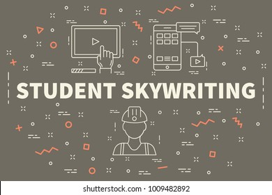 Conceptual business illustration with the words student skywriting