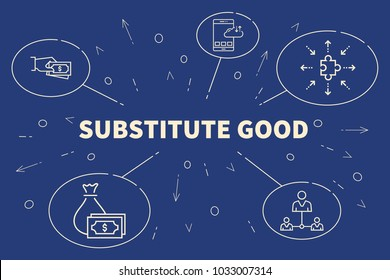 Conceptual business illustration with the words substitute good