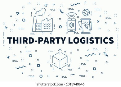 Conceptual business illustration with the words third-party logistics