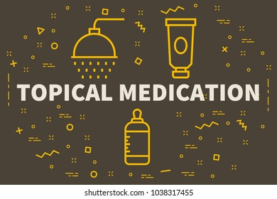 Conceptual business illustration with the words topical medication