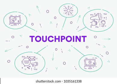 Conceptual business illustration with the words touchpoint