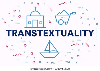 Conceptual business illustration with the words transtextuality