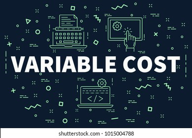 Conceptual business illustration with the words variable cost