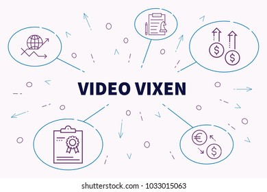 Conceptual business illustration with the words video vixen