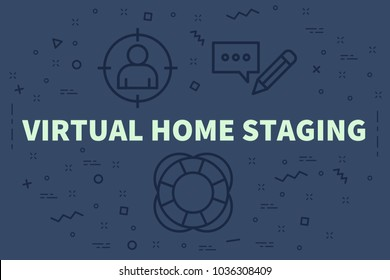 Conceptual business illustration with the words virtual home staging