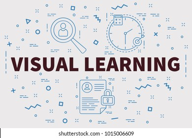 Conceptual business illustration with the words visual learning