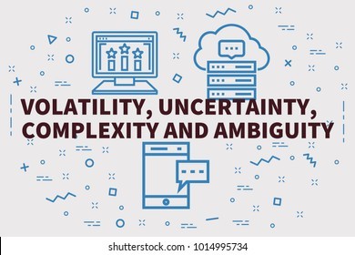 Conceptual business illustration with the words volatility, uncertainty, complexity and ambiguity