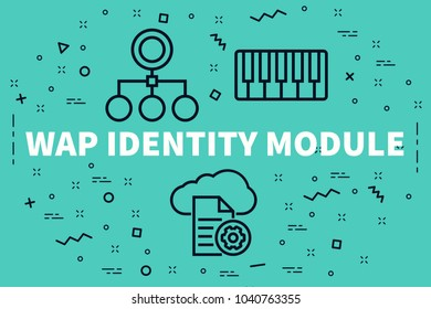 Conceptual business illustration with the words wap identity module