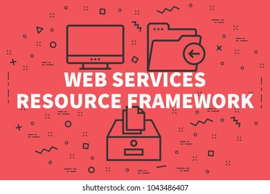 Conceptual business illustration with the words web services resource framework