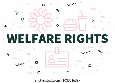 Conceptual business illustration with the words welfare rights