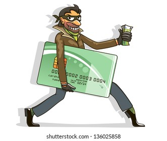 Conceptual cartoon of an evil thief or hacker stealing money from a bank card carrying a wad of cash in hand and the credit card under his arm as he walks along. Vector version also available