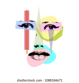 Conceptual collage - girl's face and graphic elements on a white background. Isolated.