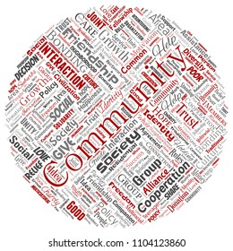 Conceptual community, social, connection round circle red word cloud isolated background. Collage of group, teamwork, diversity, friendship, communication, inclusion, care, respect concept