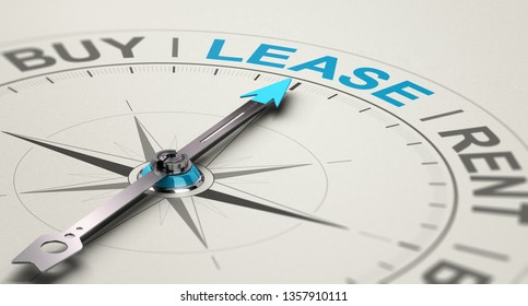 Conceptual compass with needle pointing the word lease. Concept of choosing between buying, renting or leasing a car or an equipment. 3D illustration