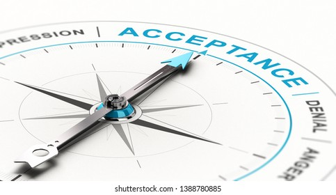 Conceptual compass with needle pointing the word acceptance. Concept of grief counseling. 3D illustration