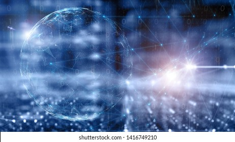 Conceptual cyber space network sphere, lines and dots on shiny blue copy space background. Selective focus used. 3d illustration.