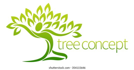 Conceptual design element of a tree in the shape of a dancing figure or person with arms outstretched