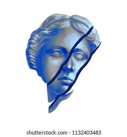 Conceptual design of Venus de Milo statue with cut skin. Front view. Digitally painted art in gouache technique