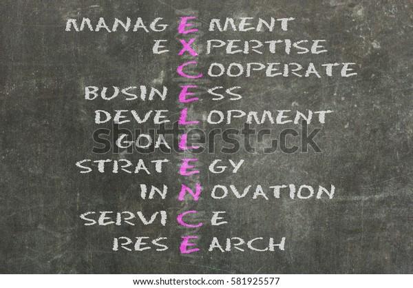 Conceptual EXCELLENCE acronym written on black chalkboard blackboard. Management, expert, development, strategy, research, service, goal
