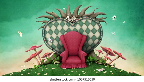 Conceptual fantasy background  for illustration or poster or photo wallpaper  with tree, heart and red armchair.