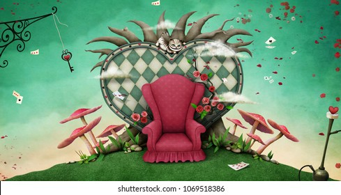 Conceptual fantasy background  for illustration or poster or photo wallpaper  with tree, heart and red armchair