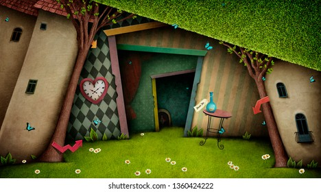 Conceptual fantasy bright background on the fairy tale Wonderland with  magic door and tree.