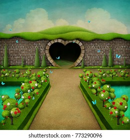 Conceptual fantasy green background with white and red roses and Grand entrance to the Park