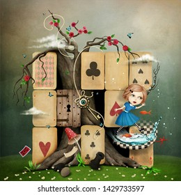 Conceptual fantasy illustration of Wonderland with Alice mess in  cards