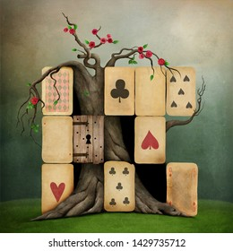 Conceptual fantasy illustration of Wonderland with playing card suits