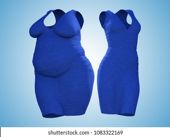 Conceptual fat overweight obese female dress outfit vs slim fit healthy body after weight loss or diet thin young woman on blue. A fitness, nutrition or fatness obesity health shape 3D illustration