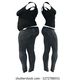 Conceptual fat overweight obese female jeans undershirt vs slim fit healthy body after weight loss or diet thin young woman isolated. Fitness, nutrition or fatness obesity health shape 3D illustration