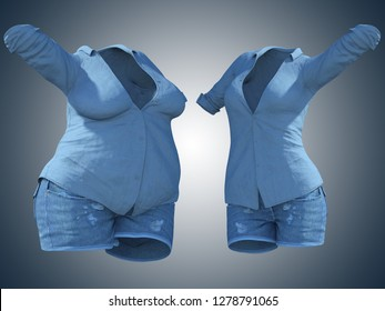 Conceptual fat overweight obese female jeans shirt vs slim fit healthy body after weight loss or diet thin young woman on blue. Fitness, nutrition or fatness obesity health shape 3D illustration