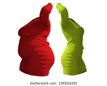 Conceptual fat overweight obese female sweater dress vs slim fit healthy body after weight loss or diet thin young woman isolated. A fitness, nutrition or fatness obesity health shape 3D illustration