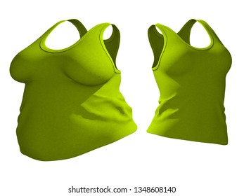 Conceptual fat overweight obese female undershirt vs slim fit healthy body after weight loss or diet thin young woman isolated. A fitness, nutrition or fatness obesity health shape 3D illustration