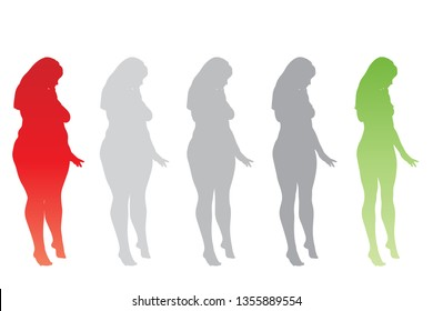 Conceptual fat overweight obese female vs slim fit healthy body after weight loss or diet with muscles thin young woman isolated. Fitness, nutrition or fatness obesity, health silhouette shape