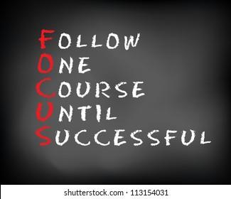 Conceptual FOCUS acronym written on black chalkboard blackboard. follow One Course Until Successful. Slide template.