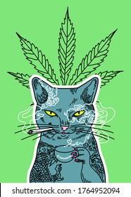A conceptual funny vector drawing of the cat smoking cannabis and drinking coffee/tea. There is also the cannabis leaf on a background.