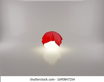 Conceptual glowing sphere with whitish empty space behind and covered with red fabric cloth. Simple 3D rendered art.