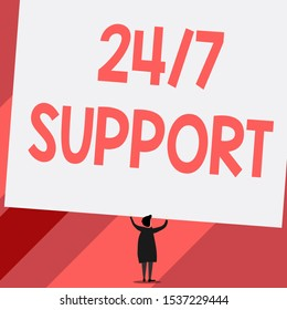 Conceptual hand writing showing 24 Or 7 Support. Business photo showcasing Giving assistance to service whole day and night No downtime Short hair woman dress hands up holding blank rectangle.