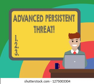 Conceptual hand writing showing Advanced Persistent Threat. Business photo showcasing unauthorized user gains access to a system Bordered Board behind Man Smiling with Laptop Mug on Desk.