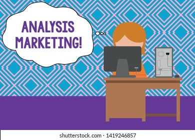 Conceptual hand writing showing Analysis Marketing. Business photo text Quantitative and qualitative assessment of a market Young female working in office computer office monitor photo.