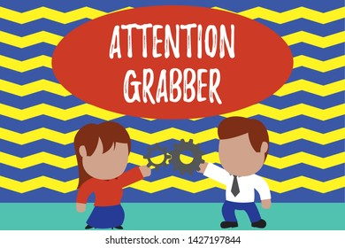 Conceptual hand writing showing Attention Grabber. Business photo text Deanalysisding notice mainly by being prominent or outlandish Young couple sharing gear Man tie woman skirt relation.
