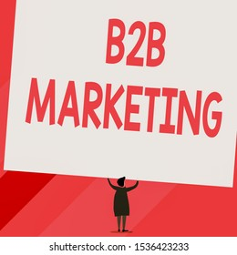 Conceptual hand writing showing B2B Marketing. Business photo showcasing Partnership Companies Supply Chain Merger Leads Resell Short hair woman dress hands up holding blank rectangle.