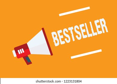 Conceptual hand writing showing Bestseller. Business photo text Book product sold in large numbers Successful literature Megaphone loudspeaker orange background important message speaking.
