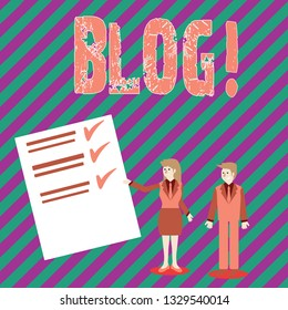 Conceptual hand writing showing Blog. Business photo text Preperation of catchy content for blogging websites.