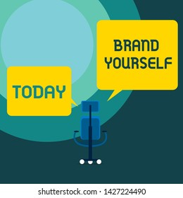 Conceptual hand writing showing Brand Yourself. Business photo text Develop a unique professional identity Personal product Executive chair sharing two blank square speech bubbles side.