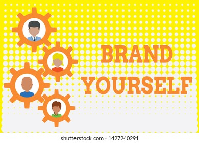 Conceptual hand writing showing Brand Yourself. Business photo showcasing Develop a unique professional identity Personal product Gearshaped picture frame family ornament Whole Family photo.
